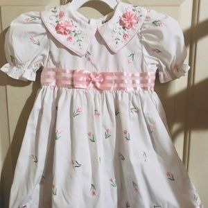 Girls' Toddler Dress (Size 3T) w/Floral Embroidery